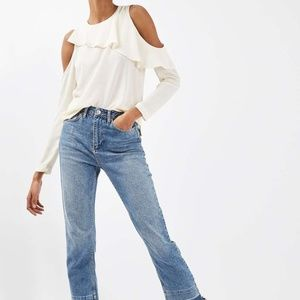 Topshop Izzy cream ruffle cold shoulder blouse